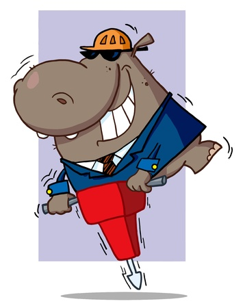 jack hammer: Construction Worker Hippo In A Hardhat And Suit