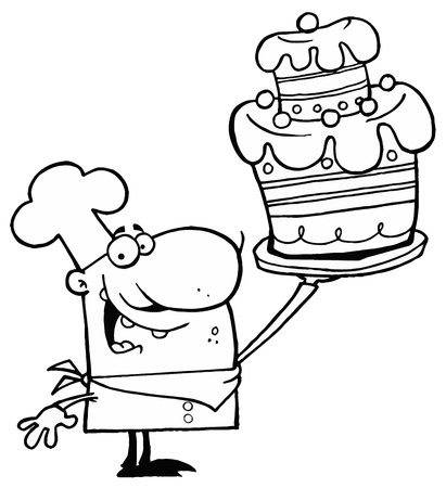 cook cartoon: Outlined Cake Chef Illustration
