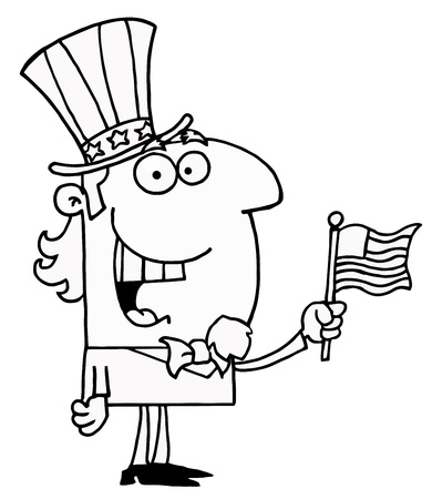 Black And White Energetic Uncle Sam Smiling And Waving A Flag Illustration