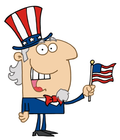 Energetic Uncle Sam Smiling And Waving A Flag