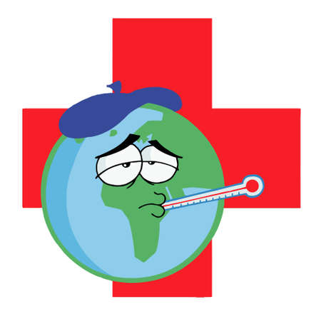 influenza: Sick Planet Earth Wearing An Ice Pack, A Thermometer Illustration