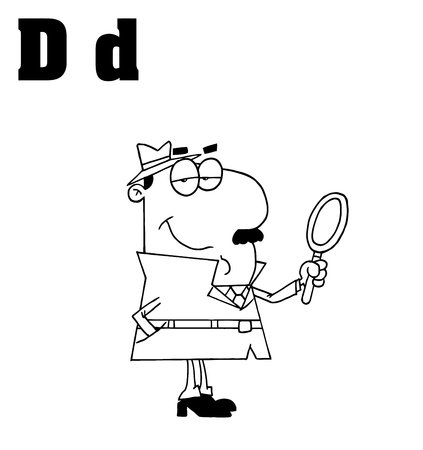 Outlined Detective With Letters D Vector