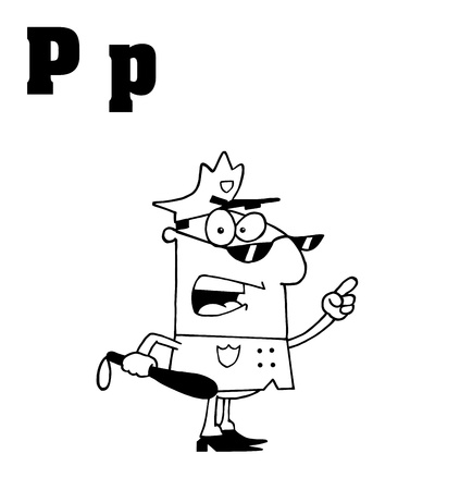 po: Outlined Police Man With Letters P Illustration