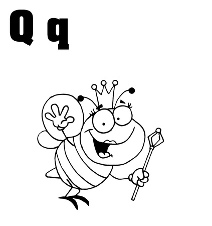 renderings: Outlined Queen Bee With Letters Q Illustration