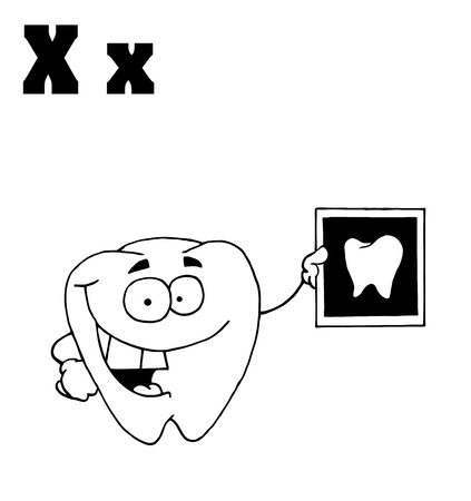 Outlined Tooth Holding An Xray With Letters X Vector