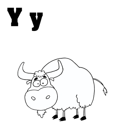 Outlined Yak With Letters Y Vector