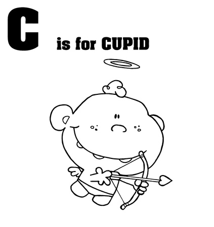 eros: Outlined Cupid With C Is For Cupid Text Illustration