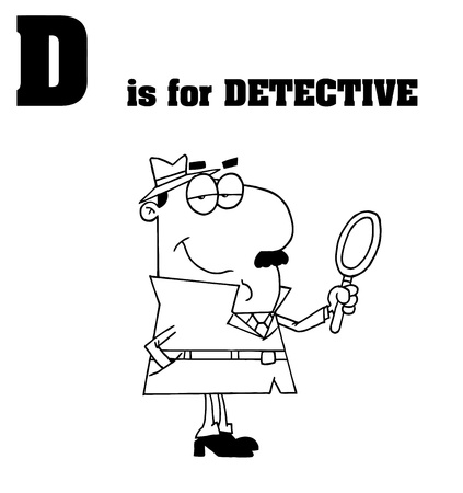 Outlined Detective With D Is For Detective Text