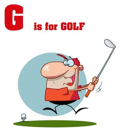 Funny Cartoons Alphabet with Text-G