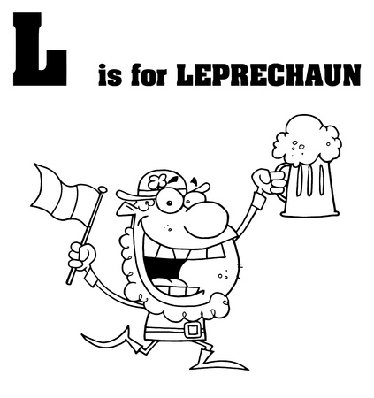 paddys: Outlined Leprechaun With L Is For Leprechaun Text