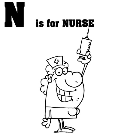 school nurse: Outlined Nurse With N Is For Nurse Text Illustration