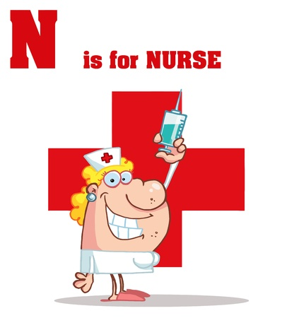 Nurse With N Is For Nurse Text Stock Vector - 16593904