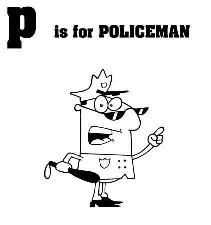 sherif: Outlined Cop With P Is For Policeman Text Illustration