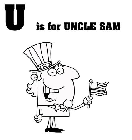 sam: Outlined Uncle Sam With U Is For Uncle Sam Text Illustration