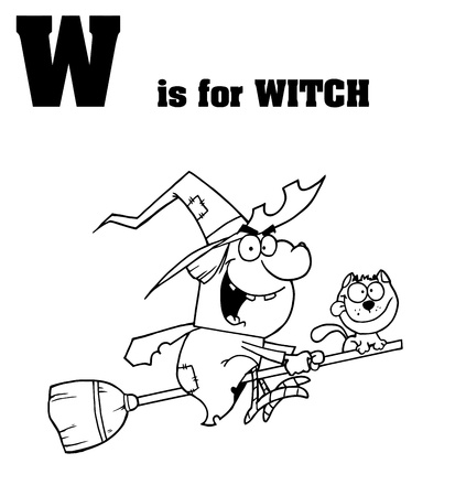 Outlined Witch With W Is For Witch Text Vector