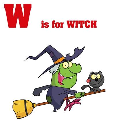 Funny Cartoons Alphabet with Text-W Vector
