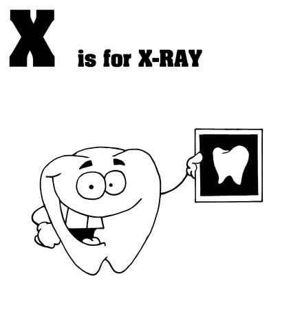 Outlined Tooth Holding An Xray With X Is For Xray Text Vector
