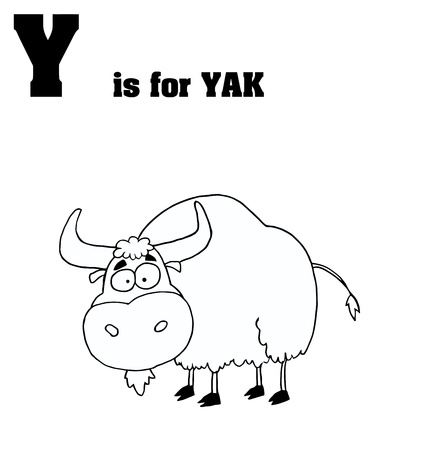 yak: Outlined Yak With Y Is For Yak Text Illustration