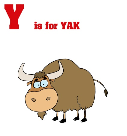 Funny Cartoons Alphabet-Yak With  Text-Y Vector