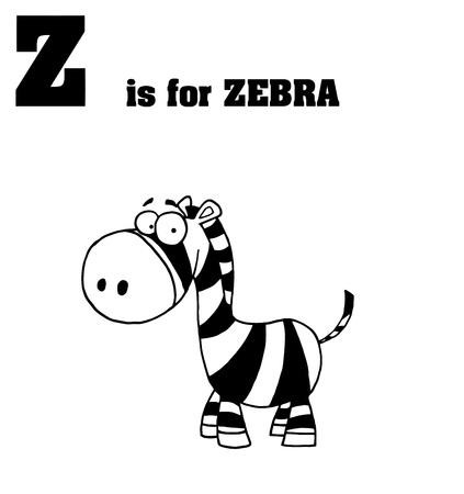 stock clip art icon: Z Is For Zebra Text Illustration