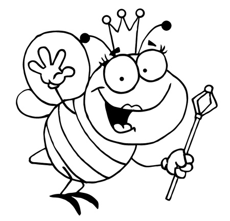 abeja caricatura: Abeja reina Outlined friendly Vectores