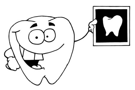 Black And White Tooth Holding An Xray Vector