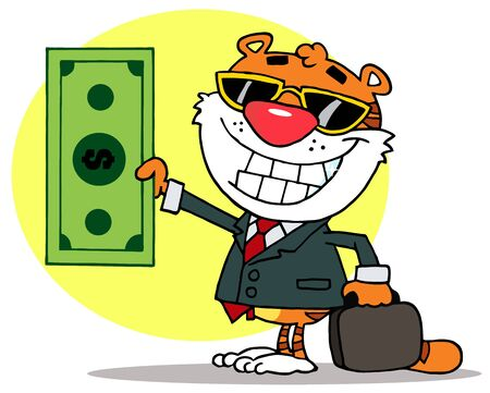 spending money: Cartoon Character Happy Tiger Keeps Dollar and Business Briefcase,background Illustration