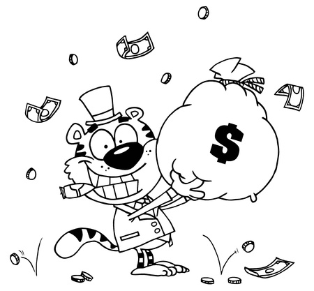 Outlined Tiger Smoking A Cigar And Holding Up A Bag Of Money Stock Illustratie