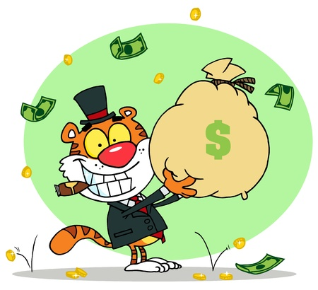 money cat: Happy Tiger Smoking A Cigar And Holding Up A Bag Of Money,background