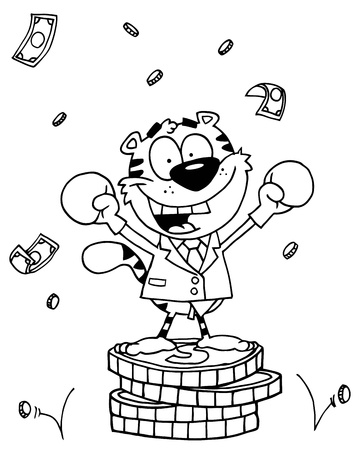 money cat: Outlined Tiger Character Wearing Boxing Gloves Illustration