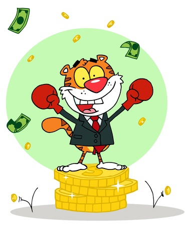 money cat: Cartoon Character Animal Happy Tiger alated With Victory,background