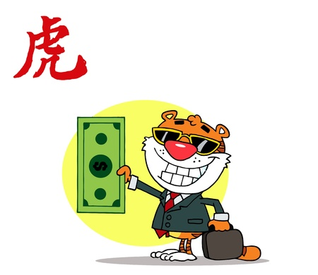 keeps: Happy Tiger Keeps Dollar and Business Briefcase Illustration