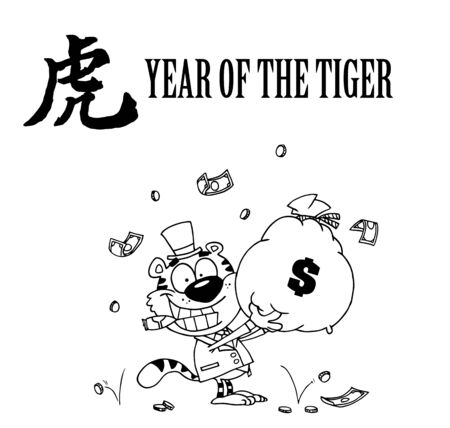 money cat: Outlined Tiger Smoking A Cigar And Holding Up A Bag Of Money Cartoon Character Illustration