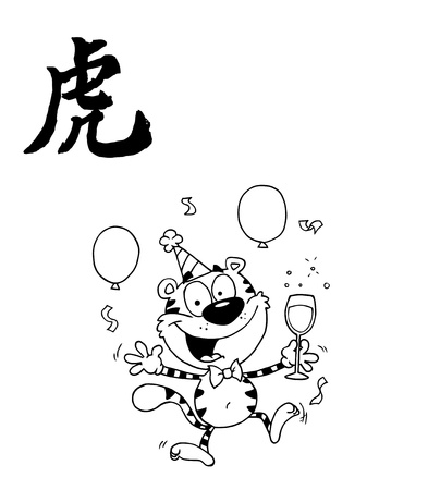 partying: Outlined Party Tiger Character With Champagne