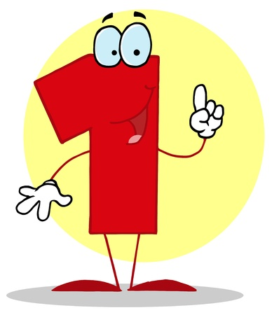 numbers clipart: Funny Cartoon Numbers-1, background Illustration