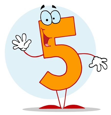 Funny Cartoon Numbers-5, background Vector