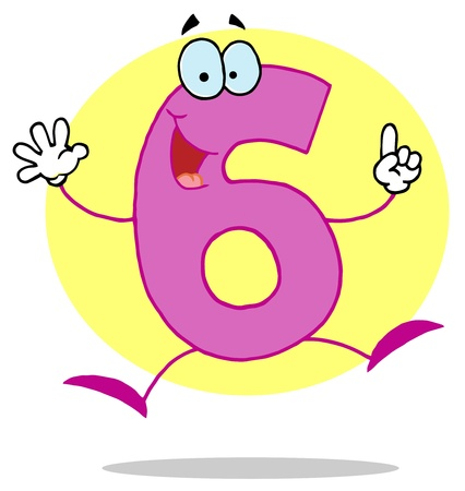 number 6: Funny Cartoon Numbers-6, background Illustration