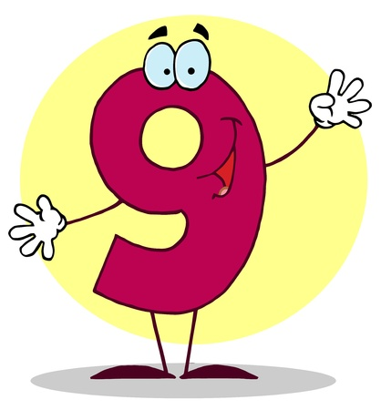 Funny Cartoon Numbers-9, background Vector