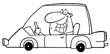 Outlined Grinning Man Driving A Car Vector