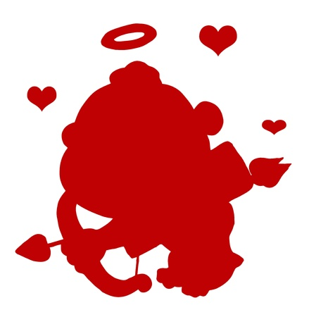 Red Silhouette Of Cupid With Red Hearts Vector