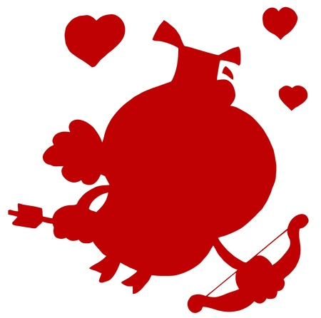 stock clip art icons: Red Silhouette Of A Pig Cupid