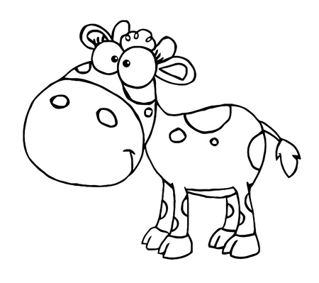 Outlined Baby Cow Vector