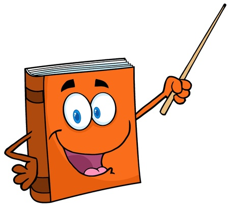 text book: Text Book Cartoon Character With A Pointer Illustration