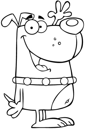 cartoon dog: Outlined Happy Dog Cartoon Character Waving For Greeting Illustration