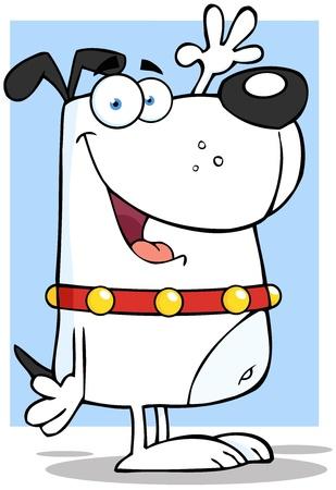 Happy White Dog Cartoon Character Waving Stock Vector - 17134936