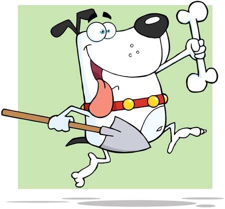 Happy Running White Dog With A Bone And Shovel Stock Vector - 17429041