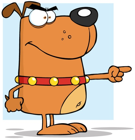 angry dog: Brown Angry Dog Finger Pointing Illustration