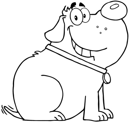 postcard: Outlined Happy Fat Dog Cartoon Mascot Character