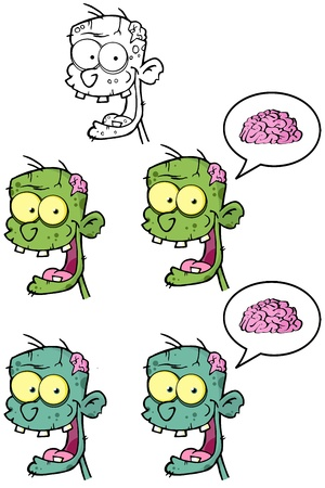 spech bubble: Zombie Head Cartoon Mascot Characters- Collection