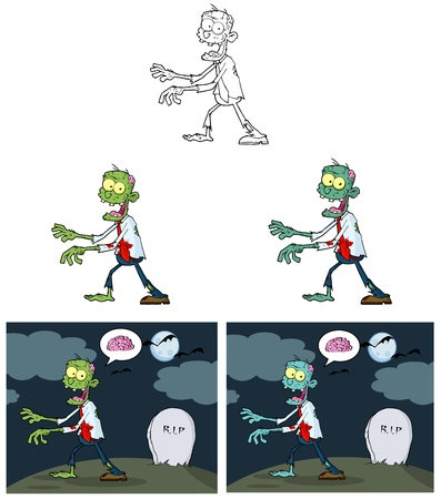Zombie Cartoon Mascot Characters- Collection Vector